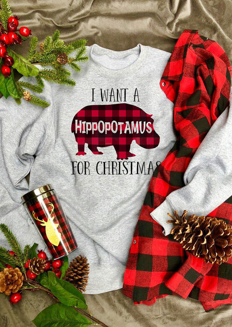 Fairyseason coupon: I Want A Plaid Hippopotamus For Christmas Sweatshirt - Light Grey