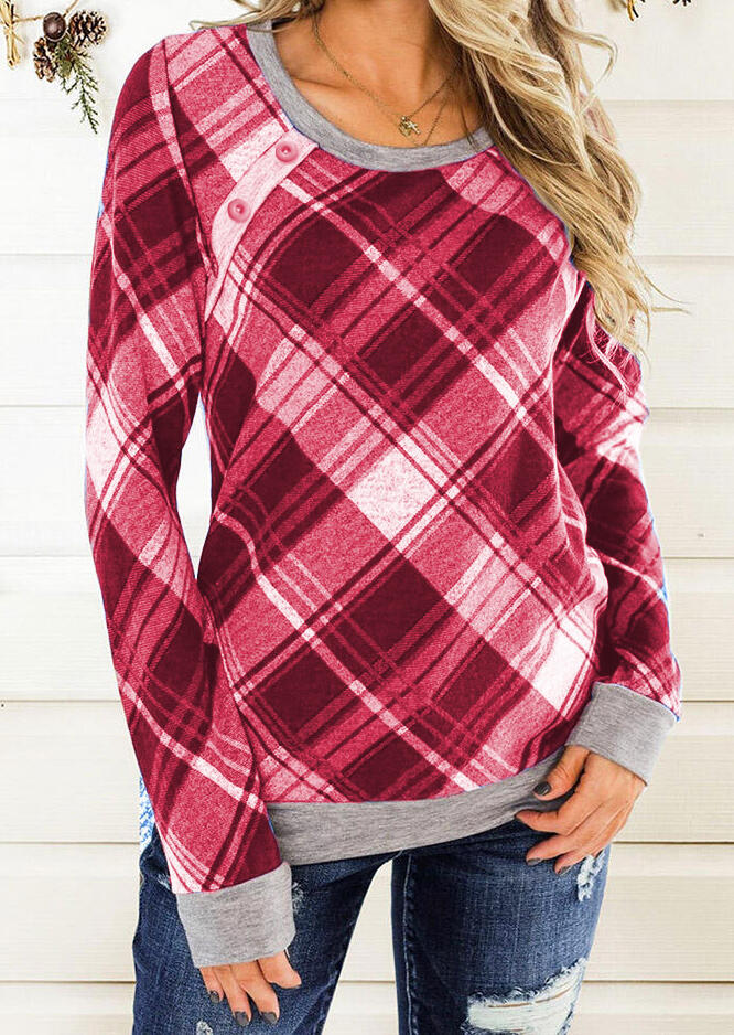 Plaid Splicing Button Long Sleeve Blouse