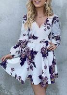 Floral V-Neck Long Sleeve Mini Dress