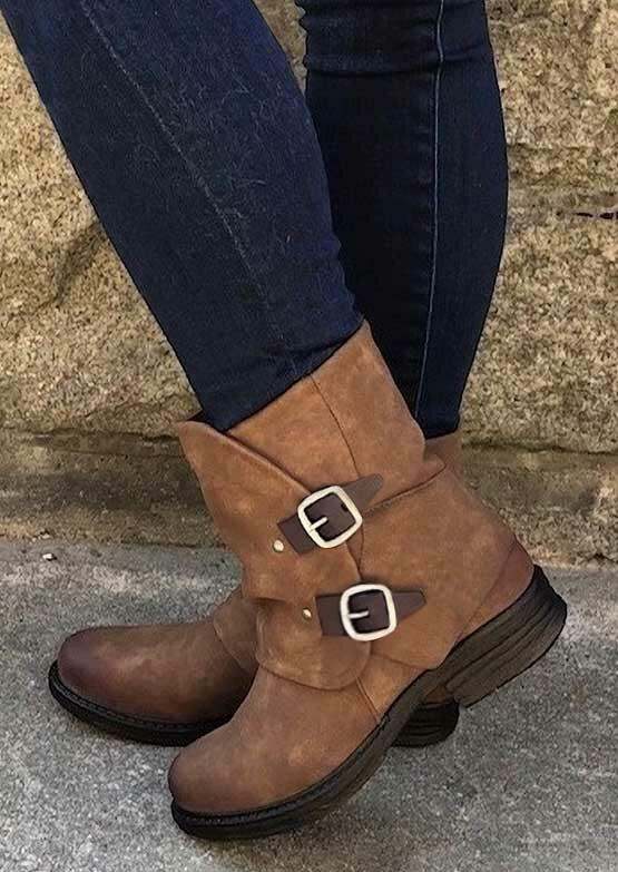 Zipper Buckle Strap Chunky Heel Ankle Boots - Light Brown