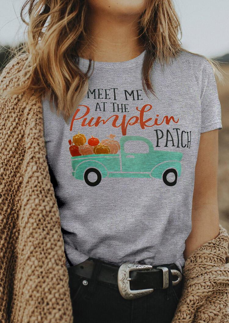 Pumpkin Patch Truck T-Shirt Tee - Light Grey
