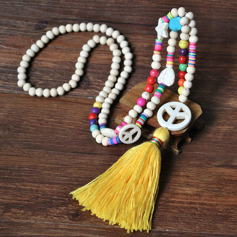 Vintage Colorful Beading Star Tassel Necklace