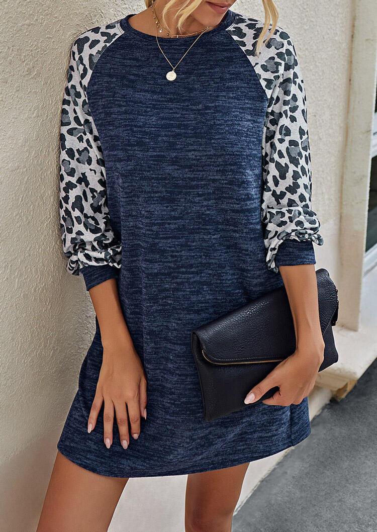 Leopard Splicing Pocket O-Neck Mini Dress - Navy Blue