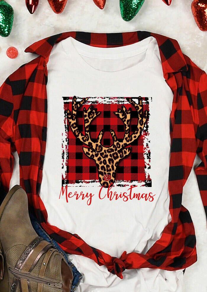 Merry Christmas Buffalo Plaid Leopard Reindeer T-Shirt Tee - White