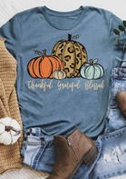Thankful Grateful Blessed Leopard Pumpkin T-Shirt