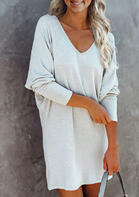 Batwing Sleeve V-Neck Mini Dress