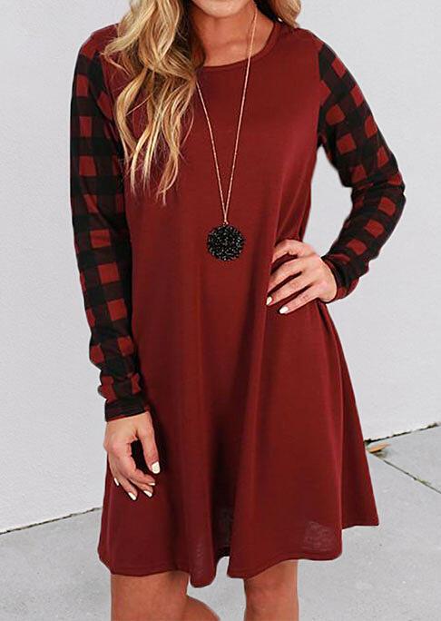 Fairyseason coupon: Buffalo Plaid Splicing O-Neck Mini Dress - Red