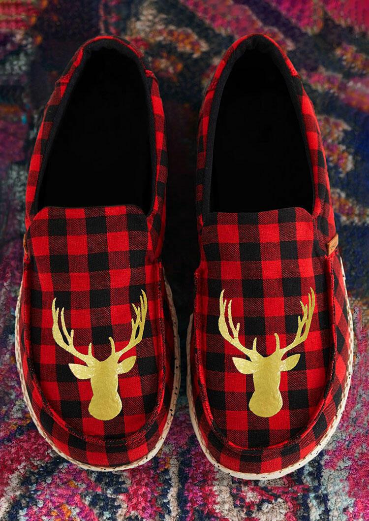 Fairyseason coupon: Christmas Reindeer Buffalo Plaid Slip On Flat Sneakers - Red