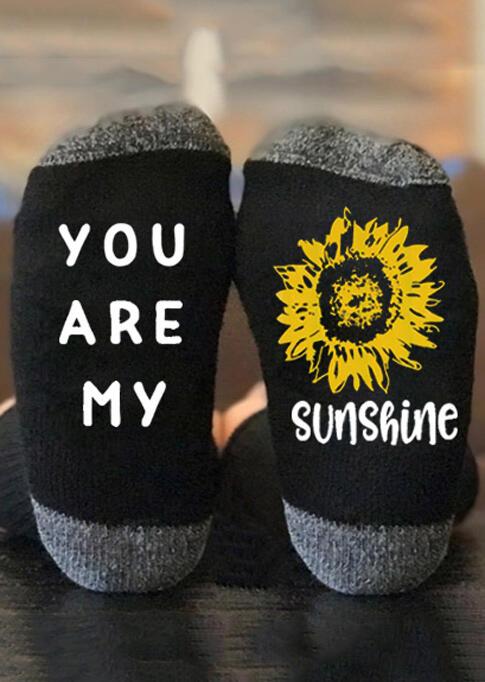 You Are My Sunshine Sunflower Socks - Black