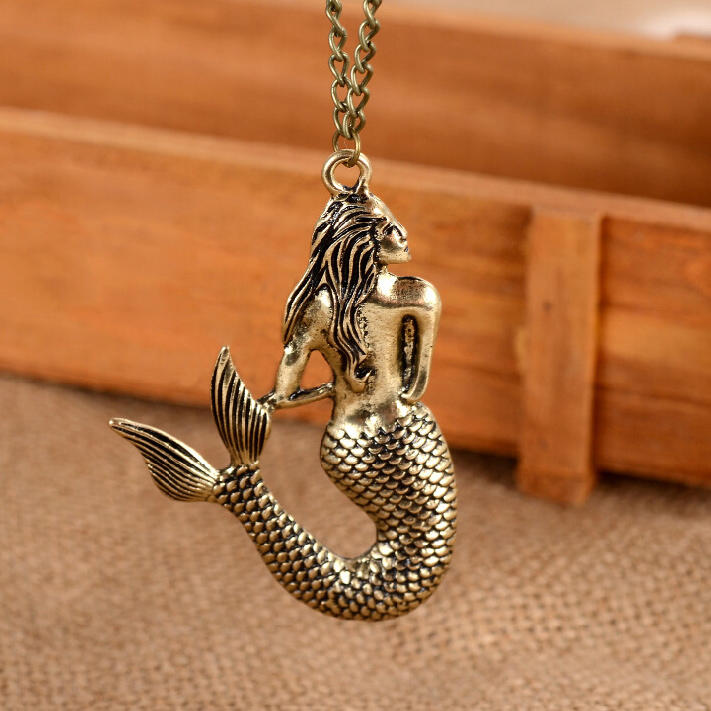 Vintage Mermaid Pendant Sweater Chain Necklace