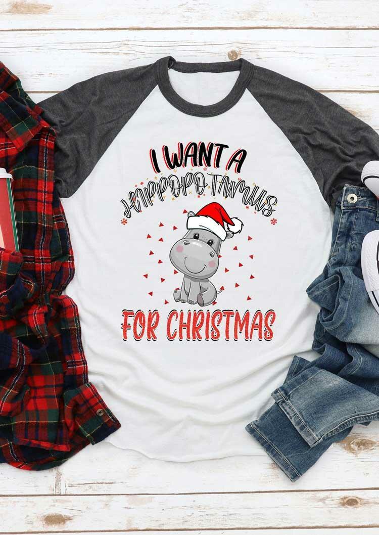 Fairyseason coupon: I Want A Hippopotamus For Christmas T-Shirt Tee - Dark Grey