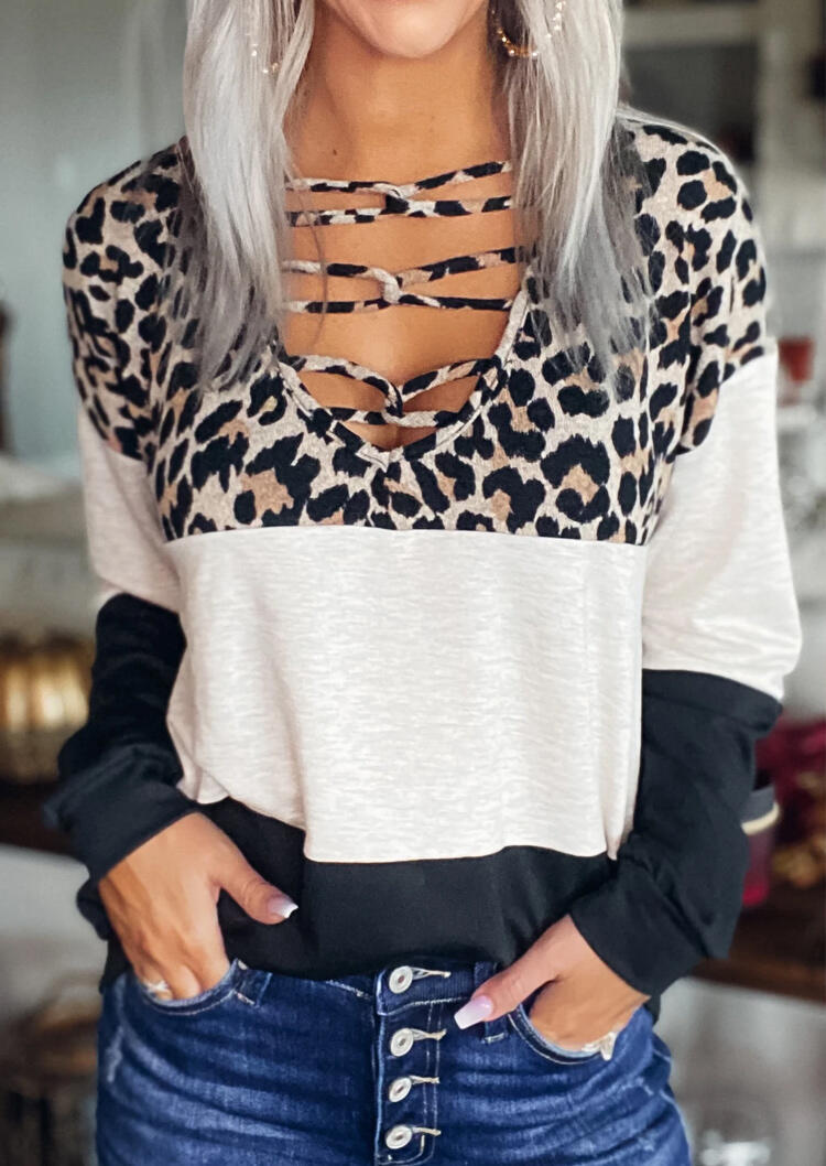 Fairyseason coupon: Leopard Color Block Criss-Cross Long Sleeve Blouse