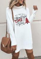 Christmas Tree Plaid Snowflake Wonderful Time Mini Dress - White