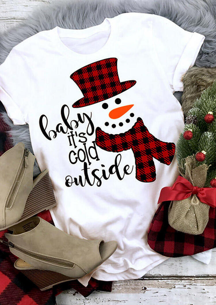 Christmas Baby It's Cold Outside Plaid Snowman T-Shirt Tee - White