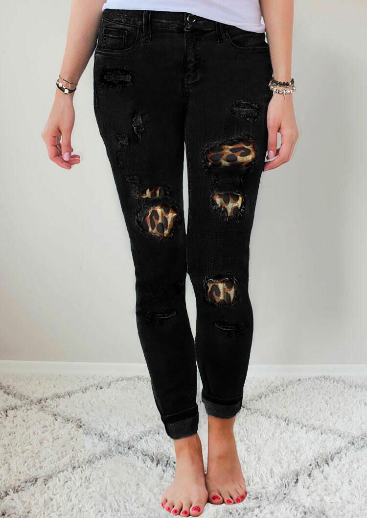 Ripped Leopard Patch Pocket High Waist Skinny Jeans - Black