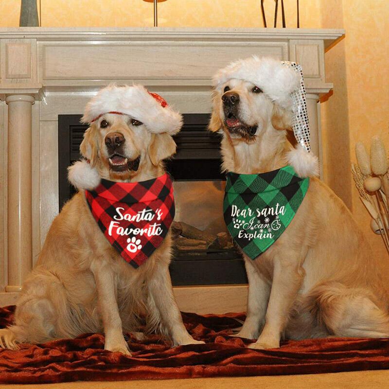 Christmas Plaid Letter Dog Paw Snowflake Adjustable Pet Triangle Scarf