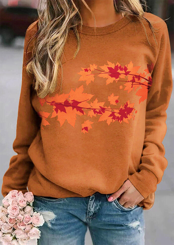 Maple Leaf Raglan Sleeve Pullover Sweatshirt - Brown