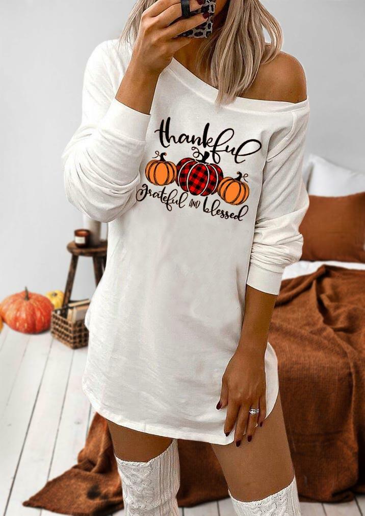 Fairyseason coupon: Thankful Grateful And Blessed Buffalo Plaid Pumpkin Mini Dress - White