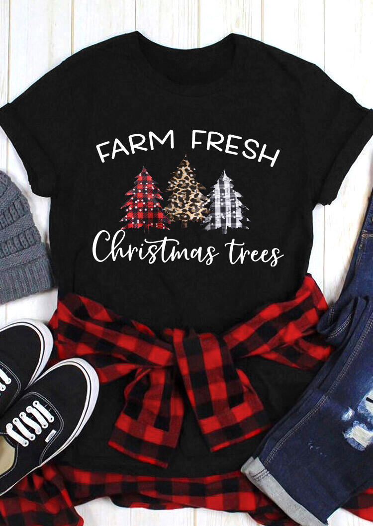 Farm Fresh Plaid Leopard Christmas Trees T-Shirt Tee - Black