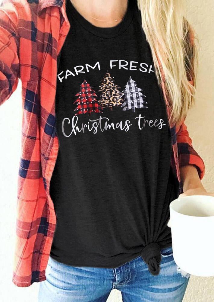 Farm Fresh Plaid Leopard Christmas Trees T-Shirt Tee - Black