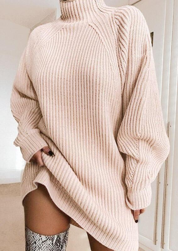 Knitted Turtleneck Sweater Mini Dress - Light Pink