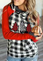 Plaid Leopard Christmas Tree Pocket Zipper Drawstring Hoodie