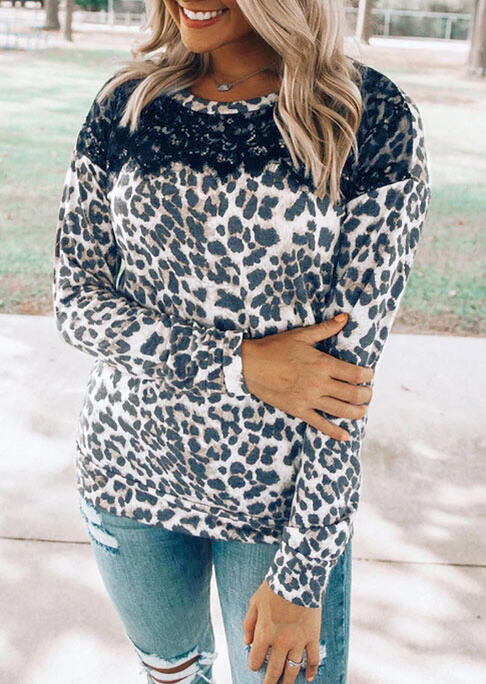 Leopard Lace Splicing Long Sleeve Blouse