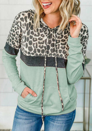 Color Block Leopard Splicing Kangaroo Pocket Hoodie - Light Green