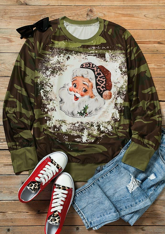 Christmas Santa Claus Leopard Camouflage Bleached Sweatshirt
