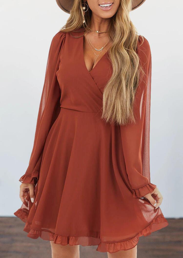 Ruffled Zipper Long Sleeve V-Neck Mini Dress - Brick Red