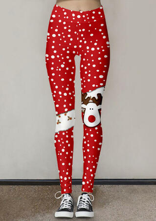 Christmas Reindeer Polka Dot Fitness Activewear Leggings - Red