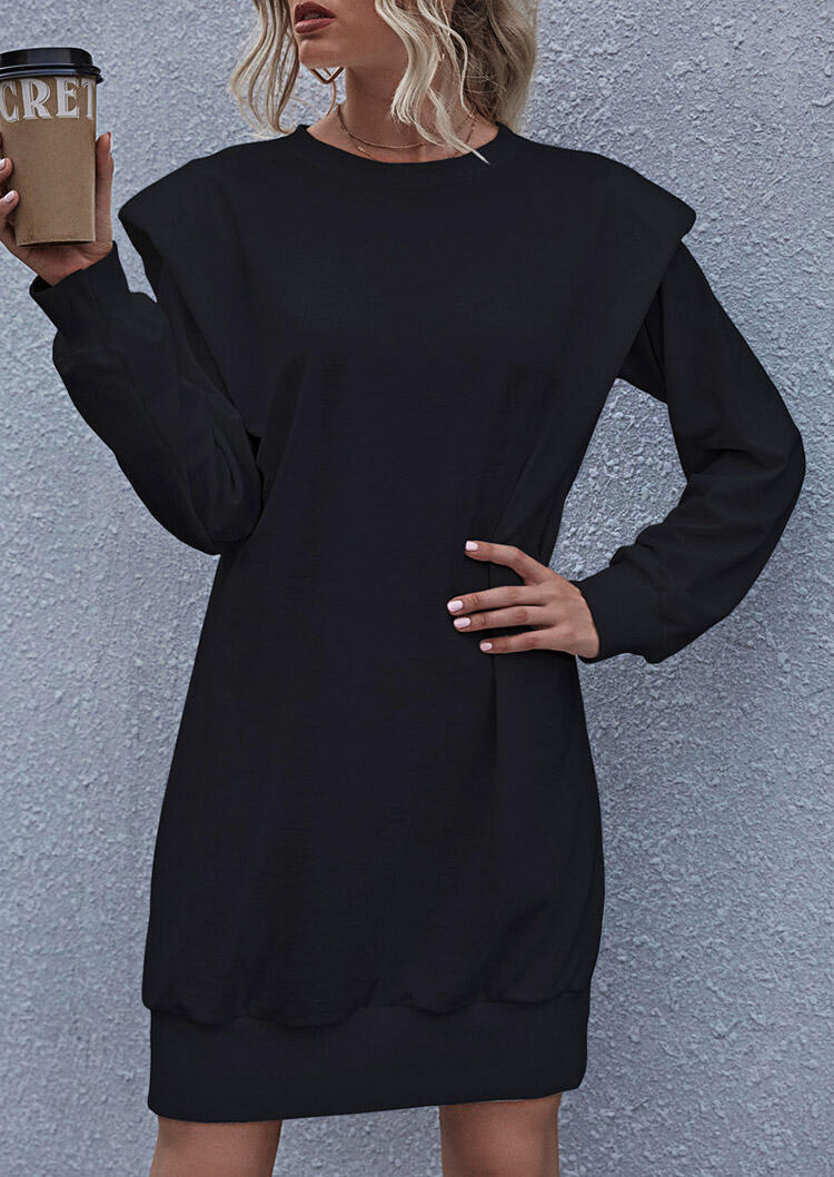 O-Neck Long Sleeve Mini Dress - Black