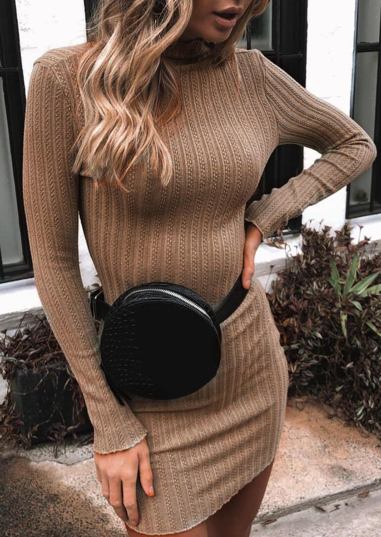 Turtleneck Long Sleeve Knitted Bodycon Dress - Khaki