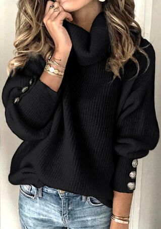 Button Long Sleeve Turtleneck Knitted Sweater - Black