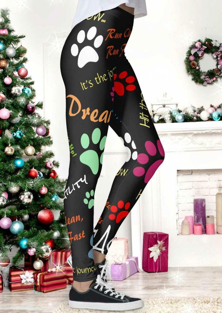 Christmas Dog Paw Letter Graphic Elastic Waist Leggings - Black