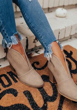 Slip On Chunky Heel Round Toe Ankle Boots - Khaki