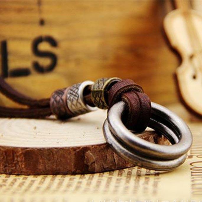 Vintage Round Pendant Leather Necklace