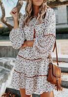 Floral Tassel Drawstring Elastic Cuff Mini Dress