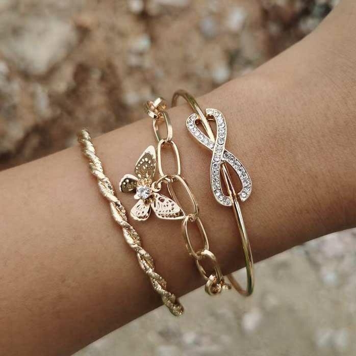 3Pcs Rhinestone Butterfly Twist Oval Link Bracelet Set - Gold