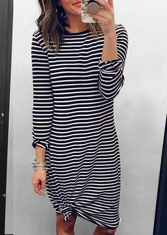 Fairyseason coupon: Striped Long Sleeve O-Neck Casual Dress