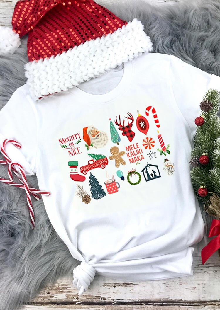Fairyseason coupon: Christmas Plaid Reindeer Santa Snowman Graphic T-Shirt Tee - White