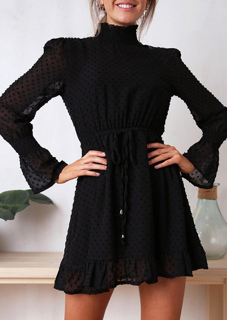 Dotted Swiss Ruffled Drawstring ElasticCuff Mini Dress - Black