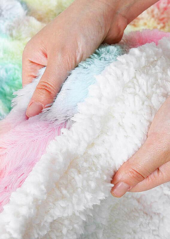 Tie Dye Rainbow Soft Warm Dual-Layered Flannel Blanket