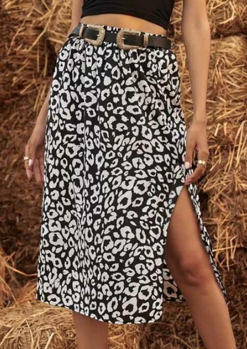 Leopard Slit Long Skirt without Belt