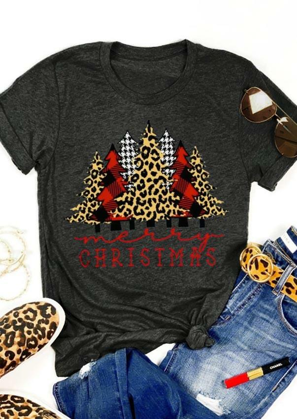 Merry Christmas Plaid Leopard Trees T-Shirt Tee - Dark Grey