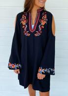 Vintage Floral Cold Shoulder V-Neck Mini Dress