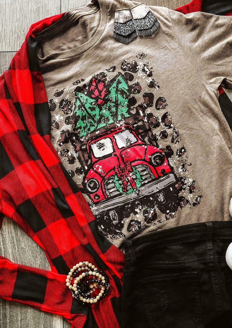 Christmas Leopard Holiday Car T-Shirt Tee - Light Coffee