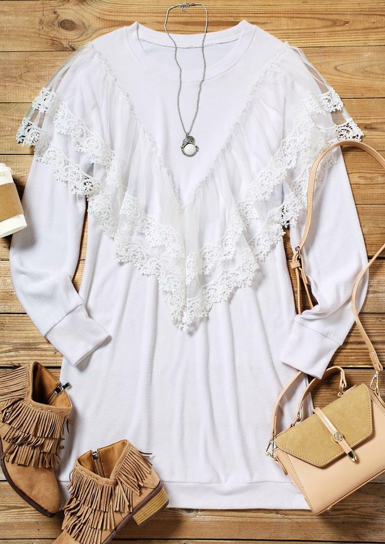 Lace Splicing O-Neck Mini Dress - White