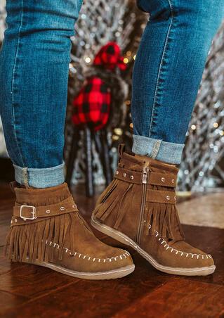 Rivet Tassel Zipper Western Flat Ankle Boots - Brown