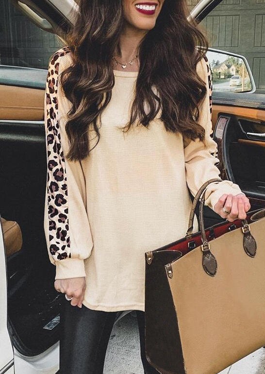 Leopard Splicing Long Sleeve Blouse - Apricot